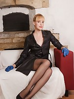 Hot blonde Milf Joss opens up her long leather jacket and reveals her rather hot and naughty side