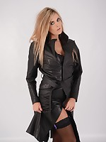 Stunning blonde opens up her full length leather rain coat, and flashes her sexy nylon legs and hot black lingerie