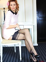 Long legs and sexy feet encased in nylon stockings