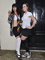 Paige is one very naughty schoolgirl as she smokes outdoors with a friend and then gets a little frisky.