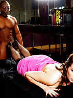 Paige is in need of a strong rub down by this black stud but he gives her a lot more than she expected.