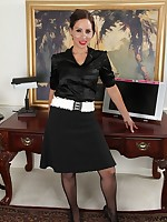 Horny secretary in pantyhose.