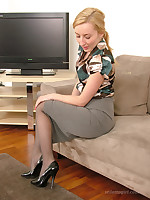 Cute blonde Sophia teases you in your nylon and stiletto fetish, whilst wearing a sexy silk blouse and tight skirt
