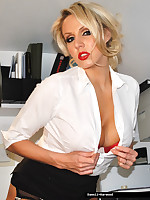 Secretary Dannii Harwood in  black stockings