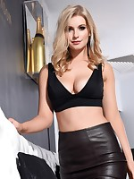 Jess Davies teasing in her black leather skirt and top