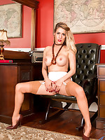 Secretary Patricia Forbes tease you in a short dress and stockings