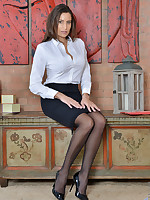 Naughty secretary Sensual Jane in lingerie