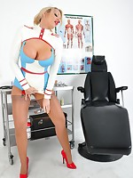 Naughty nurse Lucy Zara is in the examination room raising a few temperatures in this very skin tight latex outfit