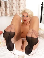 Bianca in very special pair of vintage nylons!
