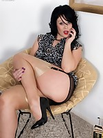 Curvy Shay in glossy topped RHTs and sheer black panties!