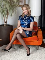 Oriental Natalia in blue silky dress and black ff stockings!
