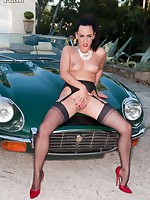 Chloe  posing with a vintage car in classic Harmony Points and stilettos!