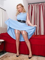 Busty, blonde Taylor in frisky mood in designer, French FF nylons!