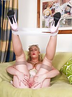 Busty Michelle enjoying some sun in summer dress and ff nylons!