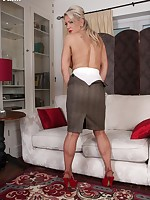 Ashleigh seducing in feminine frilly blouse and sarong girdle!