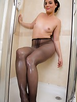 Sofia in the shower in her sheer black pantyhose!