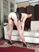 Classy Sophia strips in black girdle and seamed nylons!