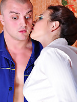 Lusty office babe seduces a studly dude getting her sheer grey hose creamed