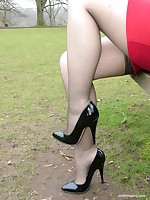 Jenna has a real fetish for shiny stilettos and silky smooth nylon stockings