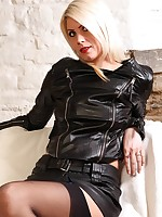 Cheeky blonde in leather jacket and tight short mini skirt flashes her pussy flaps
